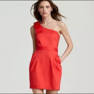 French Connection Red One Shoulder Dress Size 2